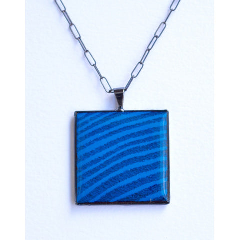 Brilliant Blue Square Necklace