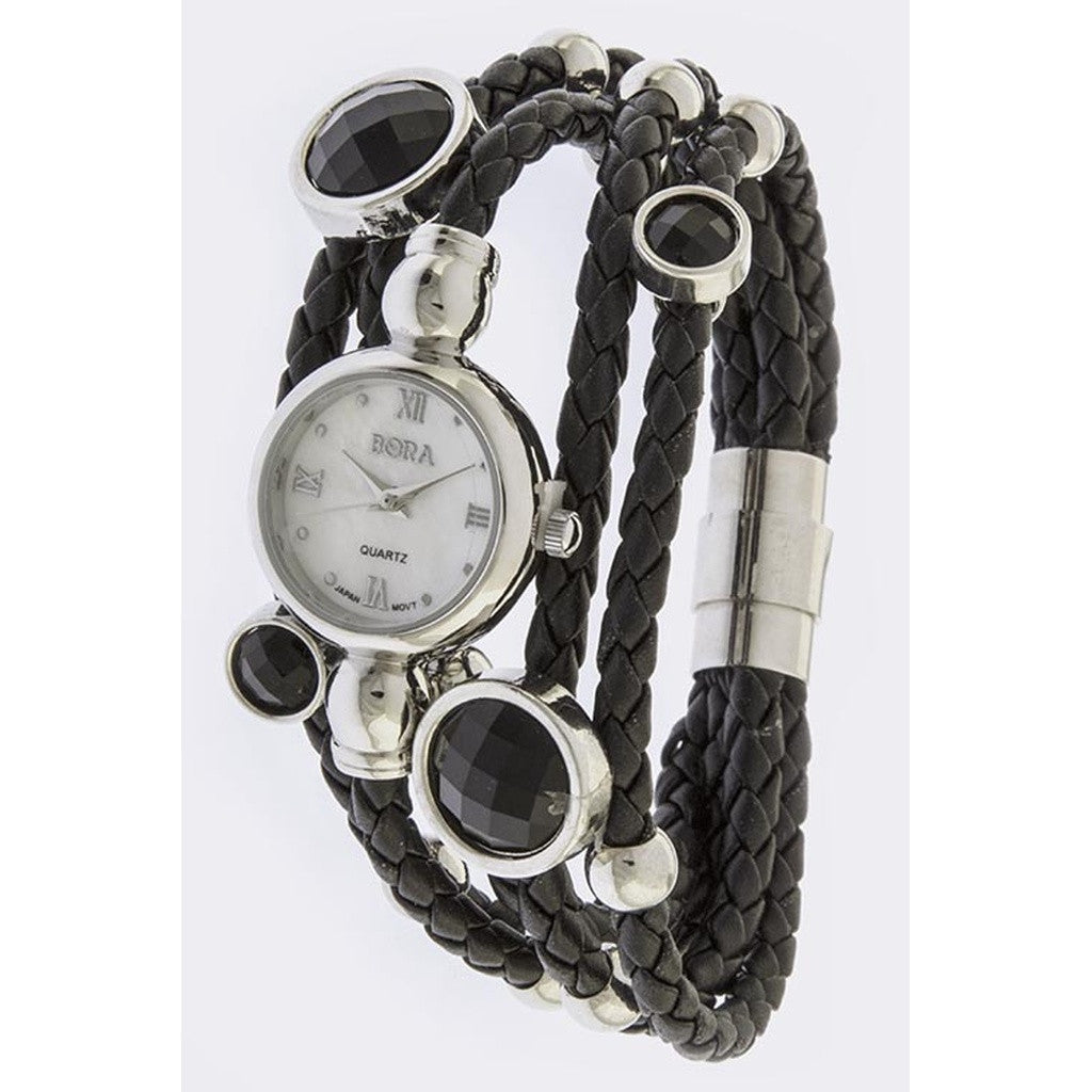 Silver and Braided Black Leather Layered Stone Accent Watch