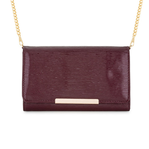 Burgundy & Gold Bar Purse