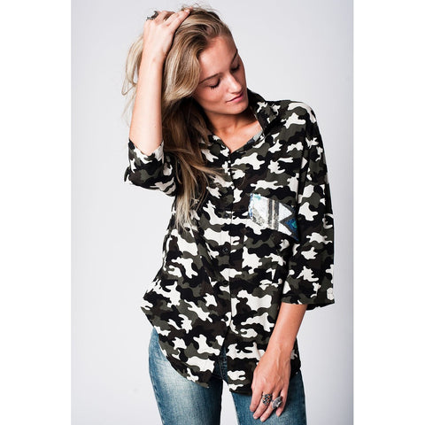 Camo Shirt With Sequin Pocket