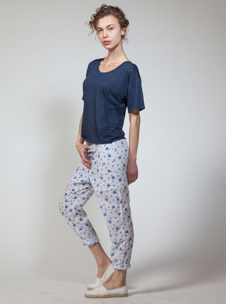 Floral Eyelet Tapered Pant