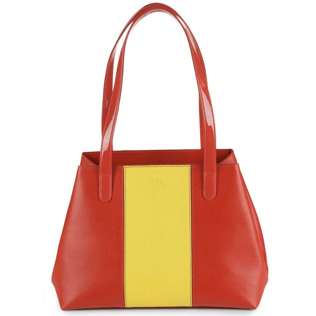 Red/Yellow Saffiano Leather Tote