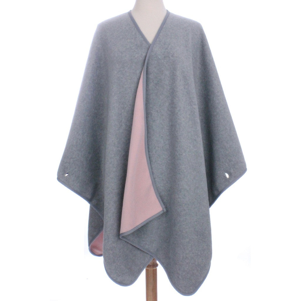 Womens Reversible Fleece Poncho