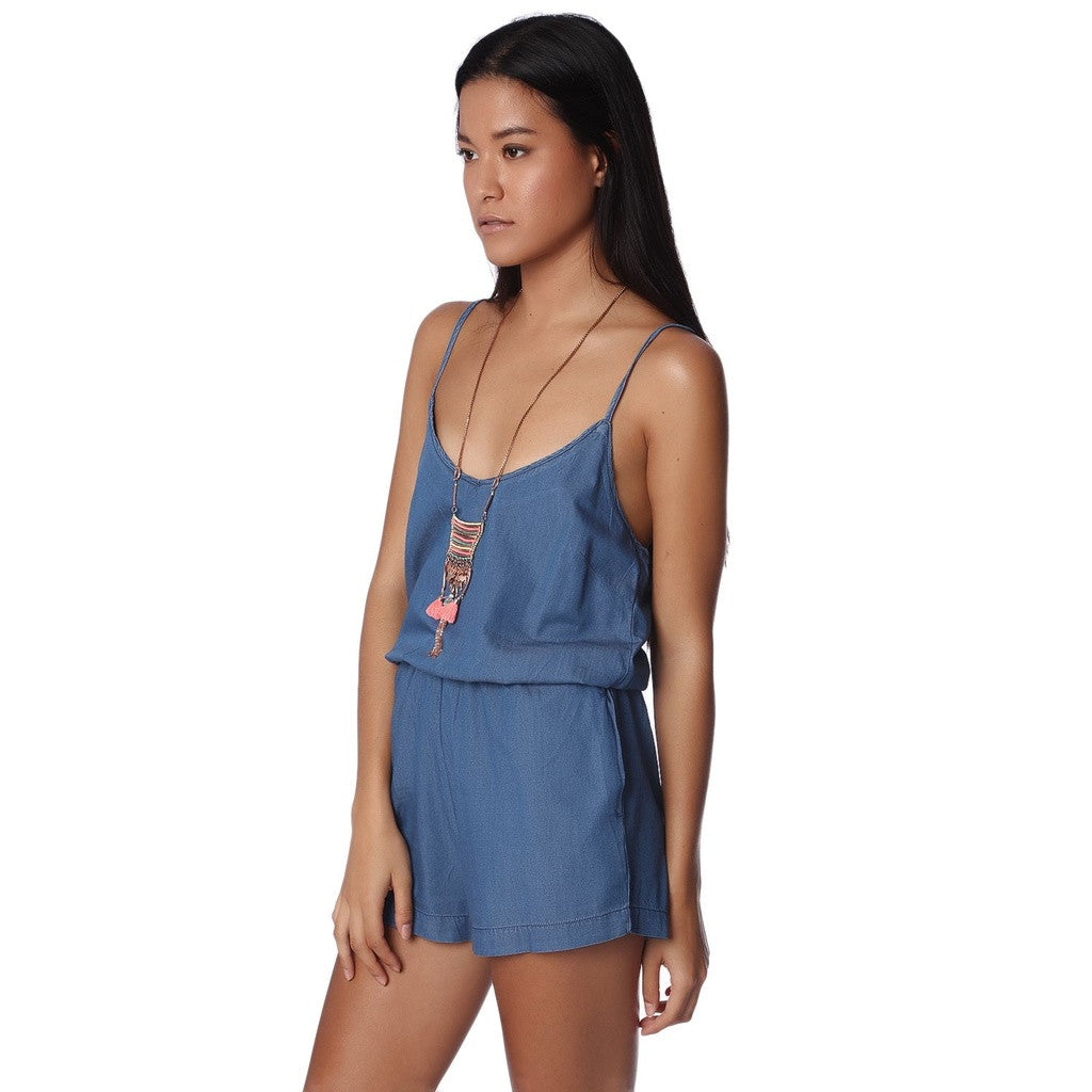 Dark Chambray Drawstring Romper With Elastic Waist