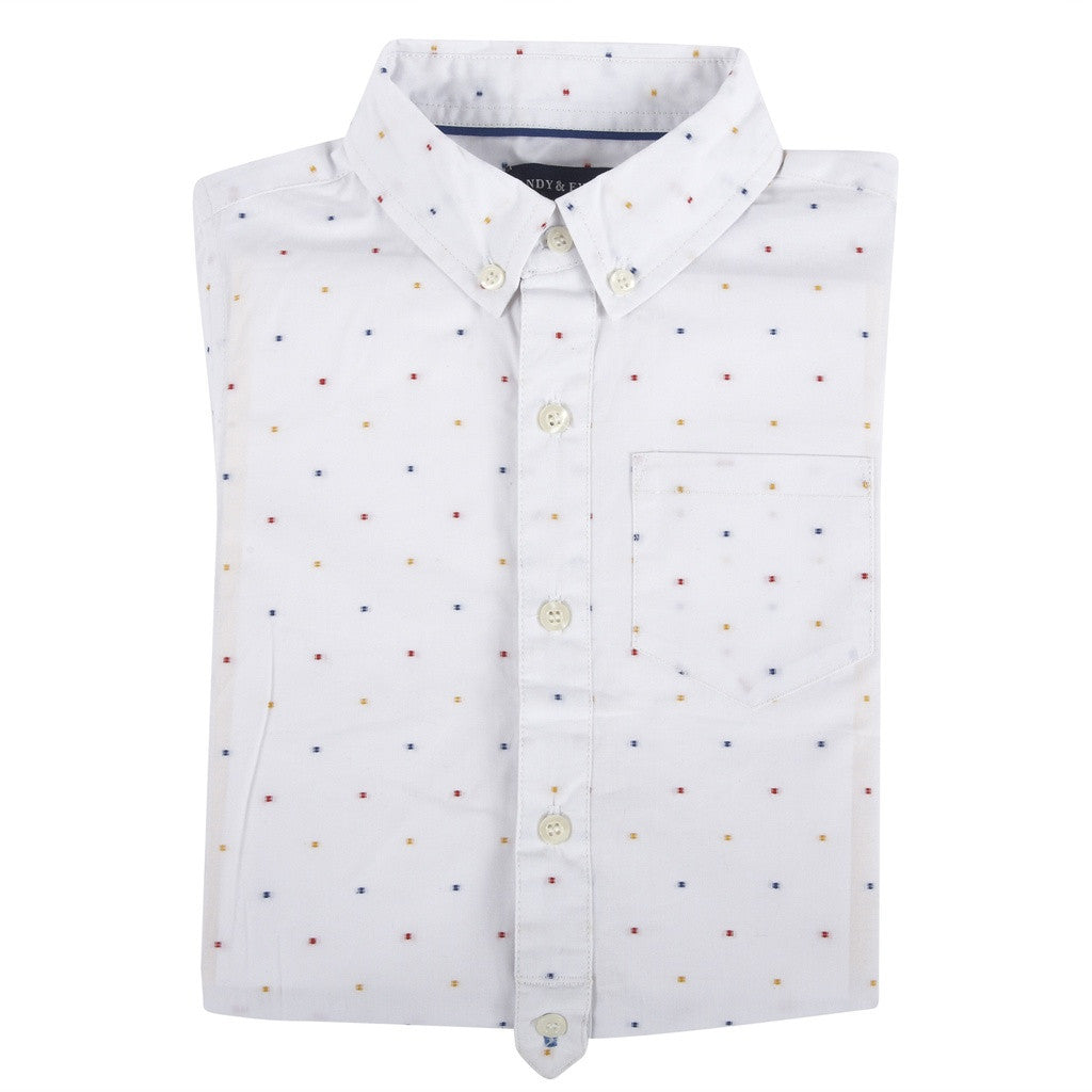White Clipped Short Sleeve Button-down Shirt