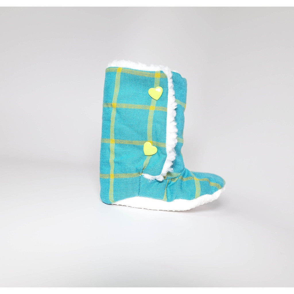 Turquoise Plaid Baby Boots (Organic Cotton)