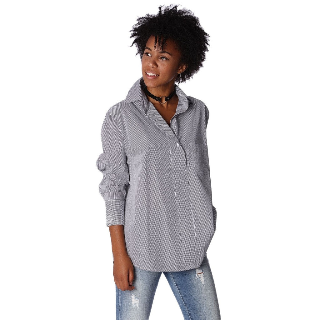 Poplin Oversized Shirt In Black And White Fine Stripe