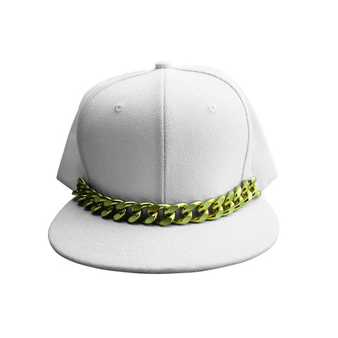 White Snapback Hat with Gold Chain