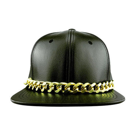 Faux Leather Snapback Hat with Glod Chain