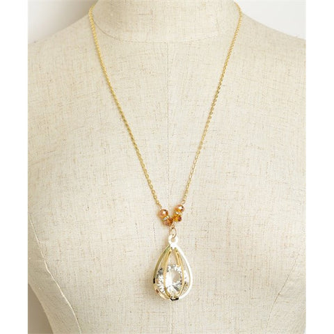 Women's Necklace Tear Drop Stone Shape Chain Necklace