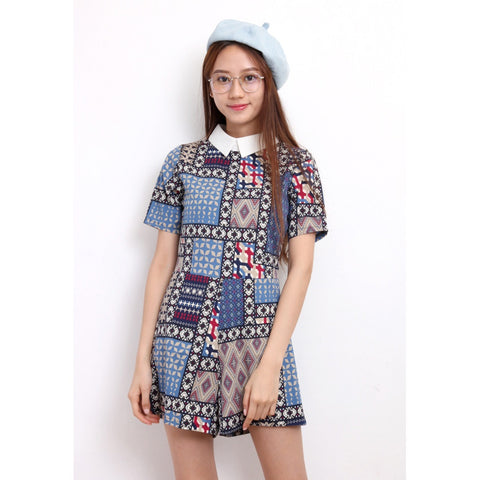 Retro Pattern Chiffon Rompers