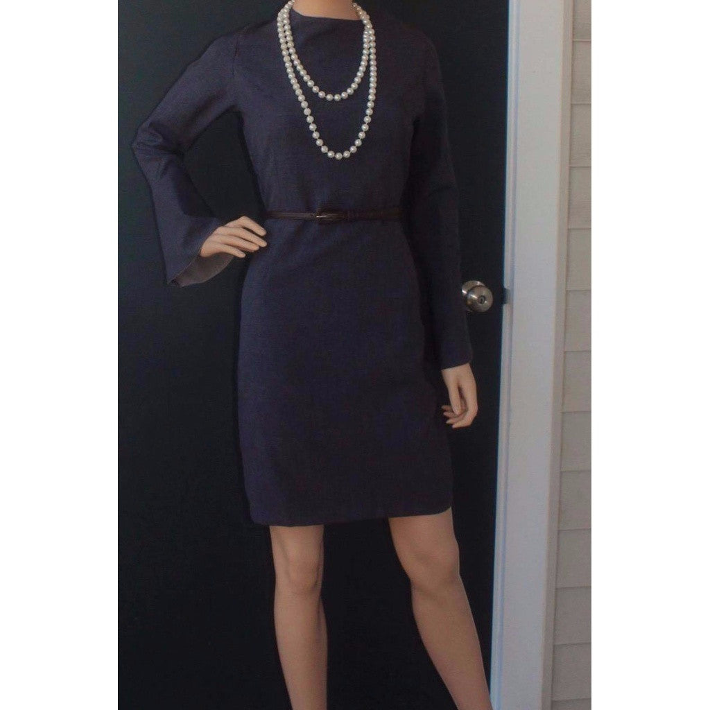 Dark Grey Flare Sleeve Fitted Dress