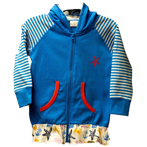 Organic Nautical Blue Zip Up Jacket
