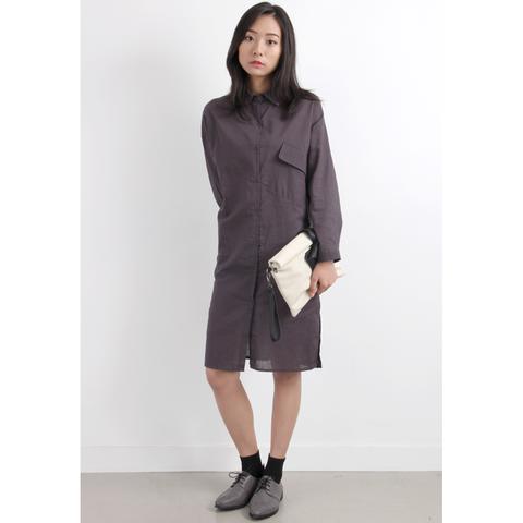 Classic Linen Long Shirt Dress