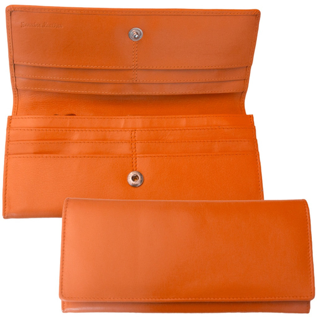 Rfid Blocking Classic Leather Wallet - Orange