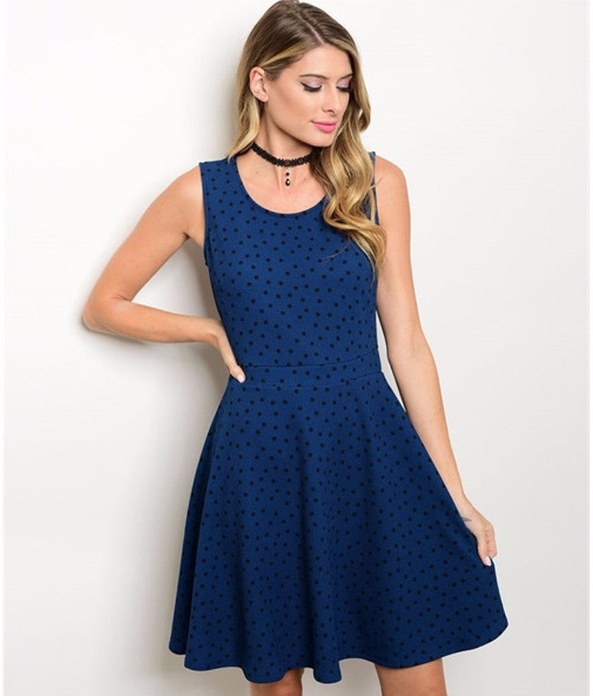 Women's Dress Blue And Black Dotted Party Dress