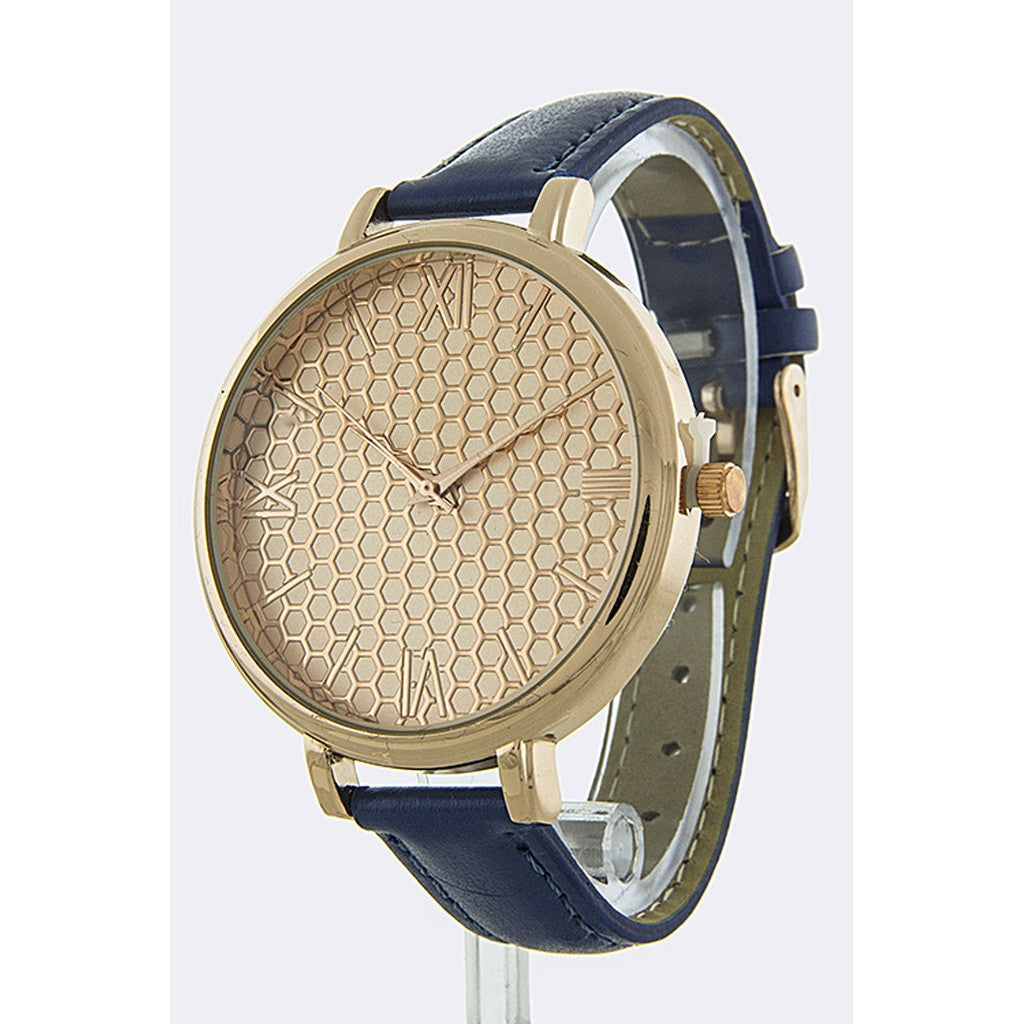 Blue Honeycomb Faux Leather Band Watch