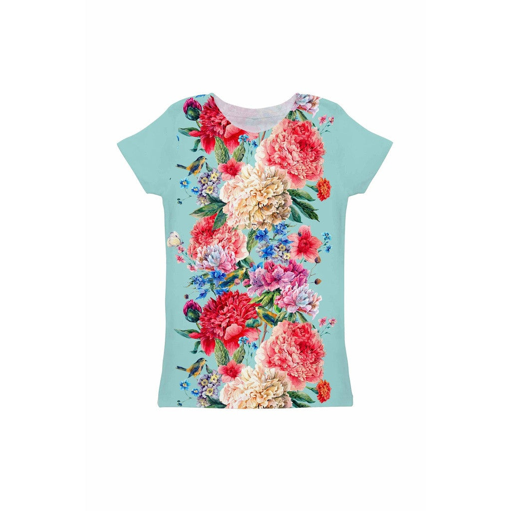 Amour Zoe Blue Floral Print Cute Designer Tee - Girls