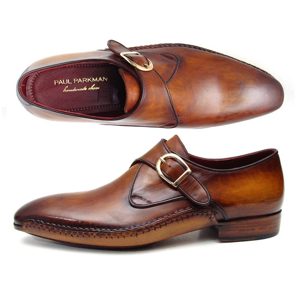 Paul Parkman Men's Single Monkstraps Brown Leather (ID#69V5E)