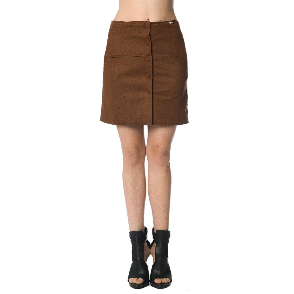 Camel Mini Skirt In Suede With Button Front
