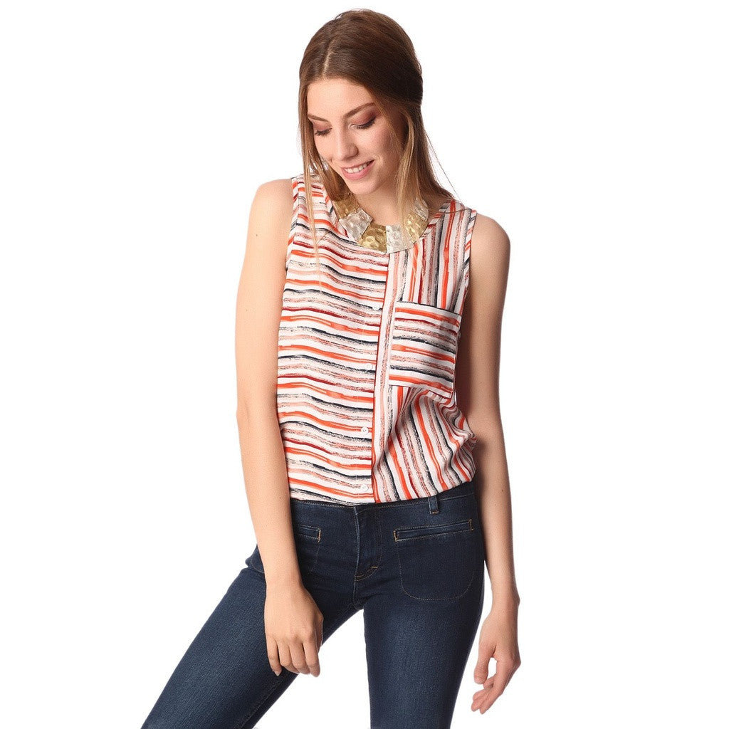 Orange Sleeveless Stripe Shirt