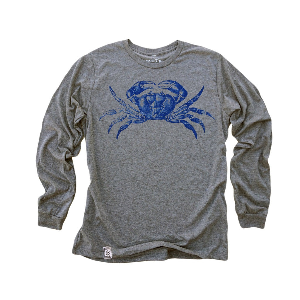 Blue Crab: Tri-Blend Long Sleeve T-Shirt in Heather Grey