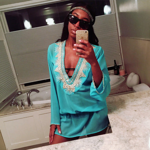 Beach Glam Turquoise and Silver Silk Kaftan- Beach Glam - Shopstara