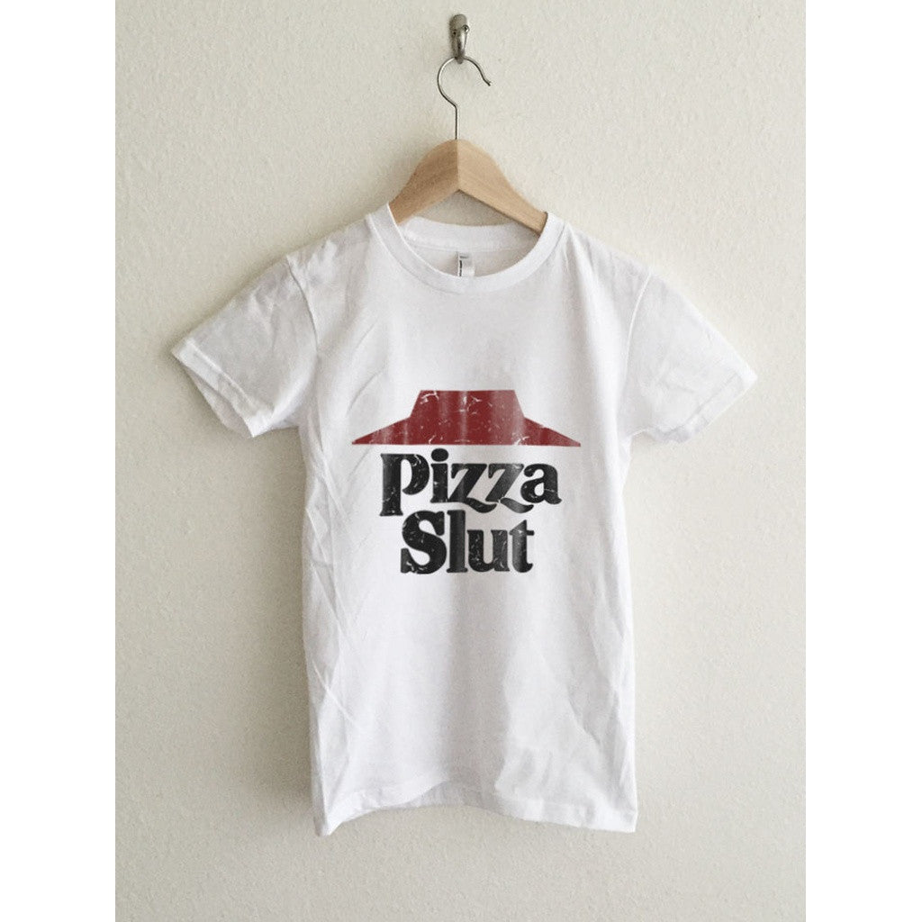 Pizza Slut Vintage Typography Print Women's Graphic T Shirt