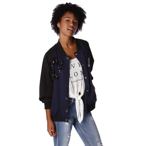 Bomber Jacket Contrast Sleeves In Blue