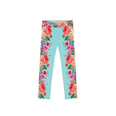 Amour Lucy Blue Floral Print Cute Eco Leggings - Girls