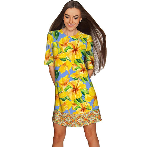 After the Rain Grace Yellow Floral Print Shift Dress - Women