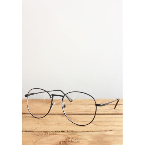 Retro Wayfarer Black Metal Eyeglasses