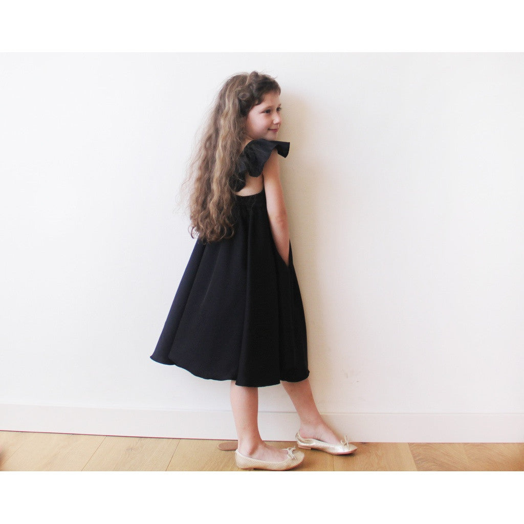 Girls Black Butterfly Dress 5003