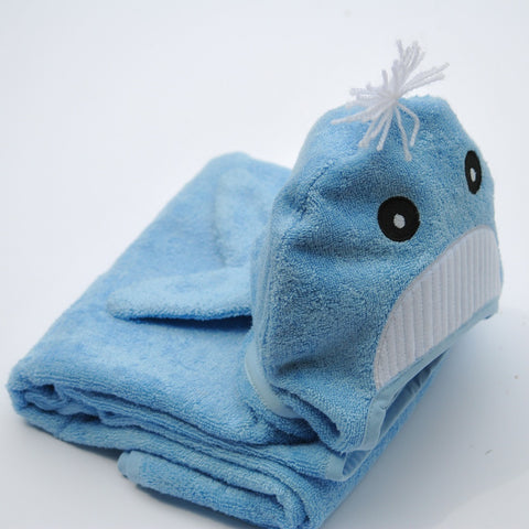 Bamboo Rayon Whale Hooded Turkish Towel: Baby