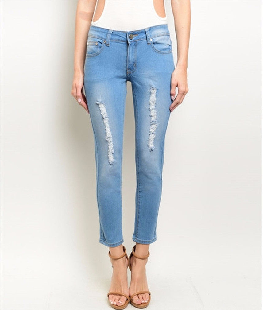 Women's Denim Jeans Light Wash Distressed  Pants