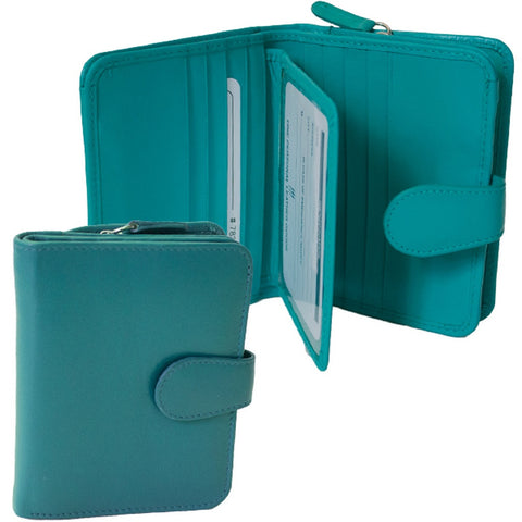 Rfid Blocking Leather Wallet - Aqua
