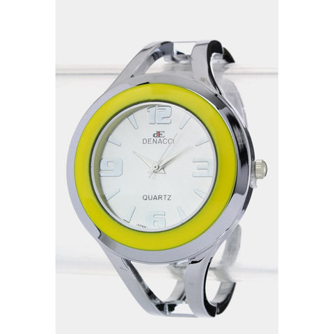 Silver & Yellow Modernistic Watch