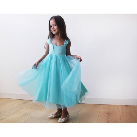 Flower Girl Fancy Turquoise Dress 5006
