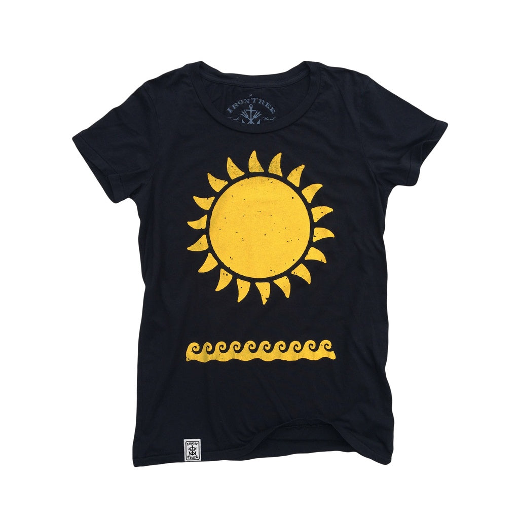 Yellow Sun & Waves: Organic Fine Jersey Short Sleeve T-Shirt in Black