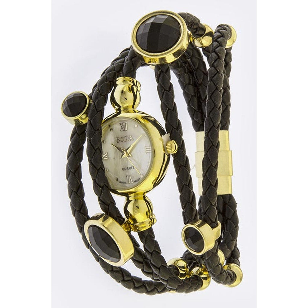 Gold & Braided Black Leather Layered Stone Accent Watch