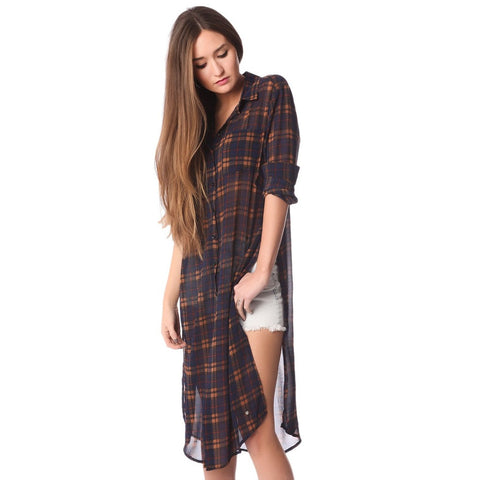Camel Longline Check Shirt With Side Splits