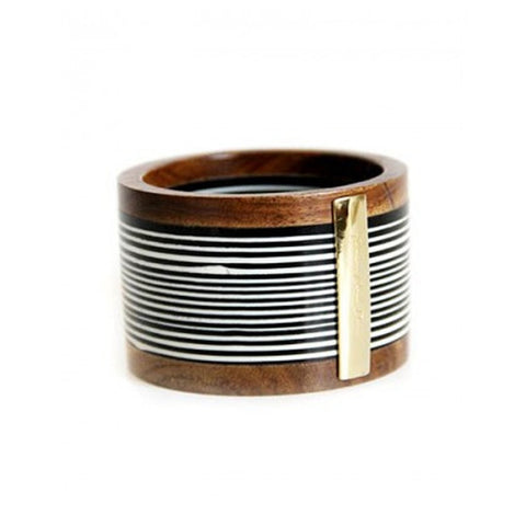 Brazilian Wood Cuff With Gold