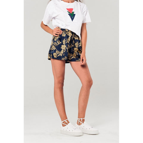 Floral satin shorts in navy