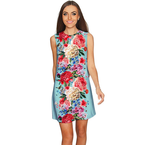 Amour Adele Blue Vintage Floral Shift Party Dress - Women