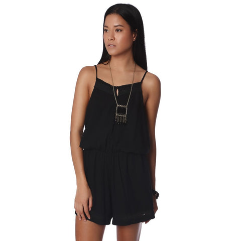 Black Crochet Detail Romper with Button Placket
