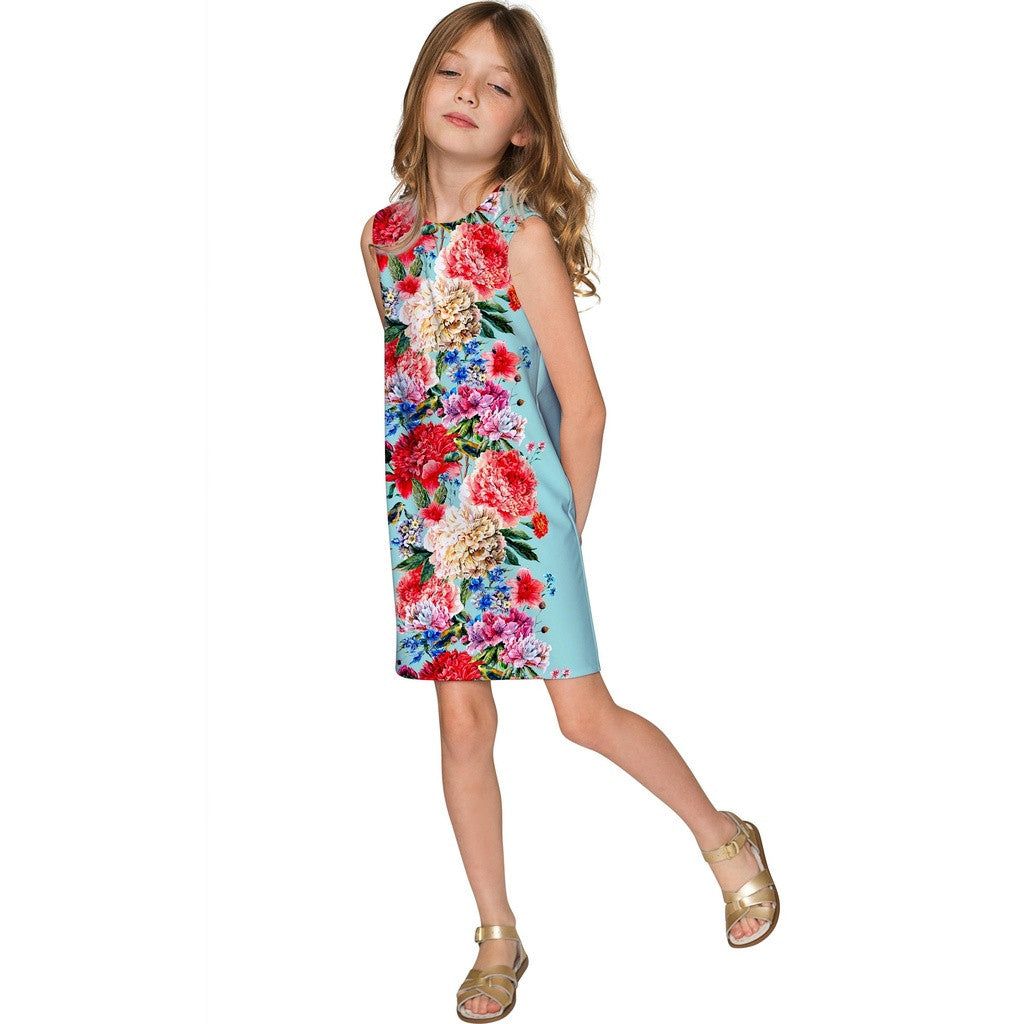 Amour Adele Blue Floral Print Chic Shift Party Dress - Girls