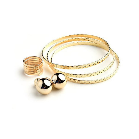 Women's Assorted Cuff Bracelet Ring Earrings Set