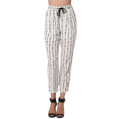 Cream Pants With Contrast Geo-Tribal Print
