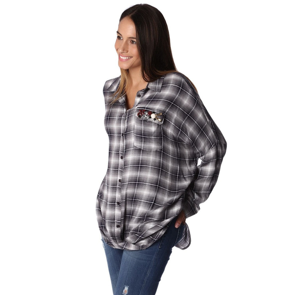 Gray Checked Shirt With Rhinestone Detail Pocket