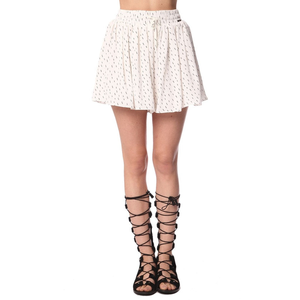 White Print Pleated Culotte Shorts